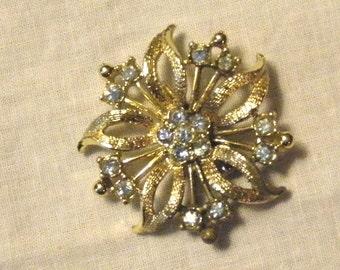 Goldtone Flower with Blue Rhinestones Brooch / Pin