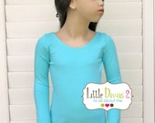 CHILD (Aqua) Leotard- Cotton Lycra, Long Sleeve,made to order