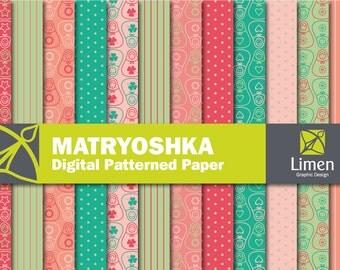 Matryoshka Digital Paper Pack, Matryoshka Doll, Russian Doll, Babushka, Nesting Dolls, Card Making, Matryoshka Paper, Scrapbooking
