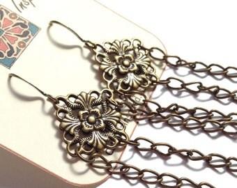 Antiqued Brass, Vintage Look Floral, Fleur de Lis Filligree Diamond Shaped Dangle Earrings With Link Chain Chandelier
