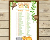 Safari Baby Shower Animal Match Game Printable - Instant Download - Baby Shower Activity - Jungle Party