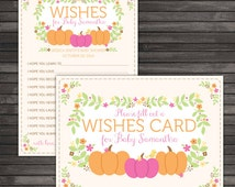 Little Pumpkin Baby Shower Wishes for Baby Girl - Little Pumpkin Baby Shower Well Wishes For Baby Printable - Fall Baby Shower Sign