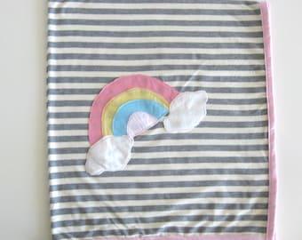 Rainbow Cloud Blanket, Stroller Blanket for Baby Girl, Striped Blanket, Single Layer Blanket, Baby Girl Gift