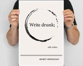 Large Art Poster, Ernest Hemingway Quote Literary Art Prints, Minimalist Illustration, Large Wall Art Quote Prints, Writer Gift, Office Art