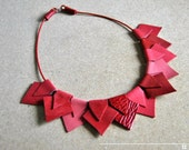 Statement Necklace-Geometric Necklace, More colors available, leather necklace, gift idea, for her