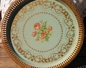 Beautiful Vintage Shabby Robin Green Blue Floral Gold Stenciled Design Gold Metal Scalloped Edge French Cottage