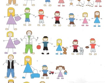 Customize your Family with Stick People counted Cross Stitch Pattern