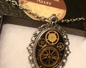 Clockwork Steampunk Necklace with Gears and Watch Parts in Ornate Victorian Setting/Antique Silver (1826)