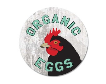 "Organic Eggs Sign 9"" Round - Milk Paint"