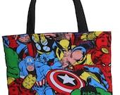 Marvel Heroes Kids Tote Bag // Captain America, Thor, Iron Man, Wolverine, Hulk, Spider Man