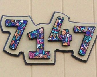 CUSTOM Mosaic House Numbers - Completed Orders Photographed at Their New Homes (Samples only)