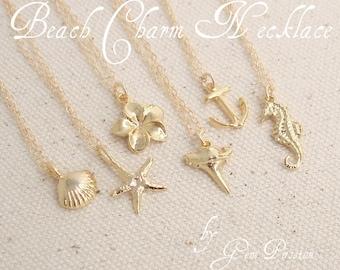 Gold Beach Charm Necklace / Gold Shark Tooth / Gold Anchor / Gold Starfish / Gold Shell / Gold Anchor/ Gold Sea Horse / Gold Plumeria