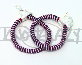 Red White Blue Stackable Wrapped 550 Paracord Bracelet Anklet Floss Hemp Yarn Cotton Ribbon