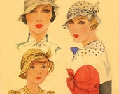 Vintage Women's  McCall 1930s Hat , Millinery Sewing Pattern ~ # 112 Reproduction!