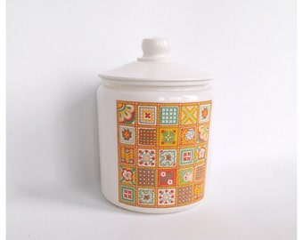1950s White and Yellow Painted Glass Cookie Jar