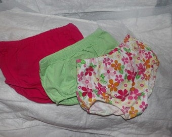 3 pair of 6 months to 9 months diaper covers in dark pink, lite green and floral print - dcs1