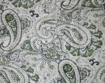 Green Paisley Vintage Cotton Fabric