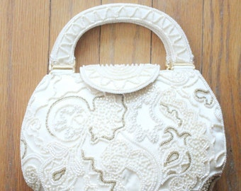 Vintage 80's Cream Beaded Evening Bag by Hashimoto