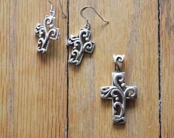 Vintage 90's Sterling Silver 925 Ornate Cross Earrings and Pendant