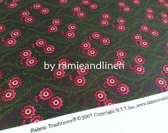"cotton fabric, flowering branch print cotton fabric, half yard by 43"" wide"