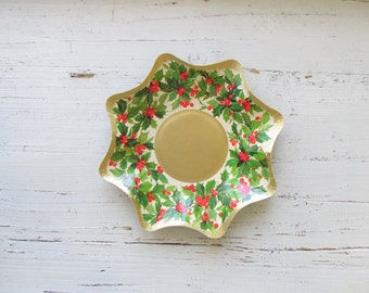 Vintage Christmas Paper Tray - Christmas Decorations - Paper Holly Wreath