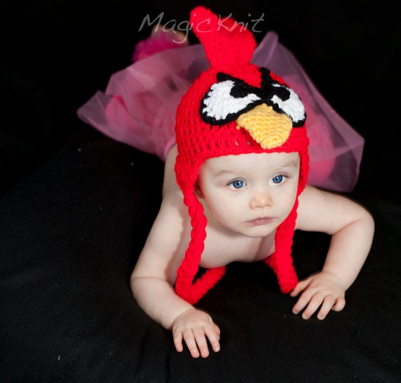 SALE READY to SHIP Angry Bird Hat. Great for Photo Prop, Size Newborn size
