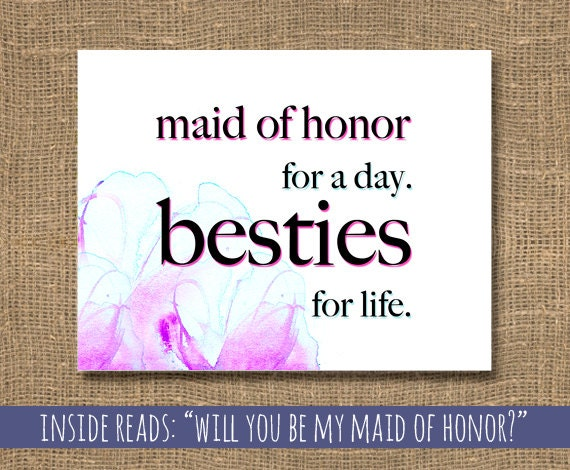 Honor Or Honour On Wedding Invitations: Wedding Maid Of Honor / Besties For Life Card / How To Ask A