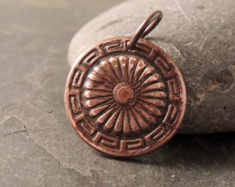 Copper Pendant, Focal Pendant, Rustic Handcrafted, Aztec Design, Southwest Copper Pendant, Artisan Jewelry,