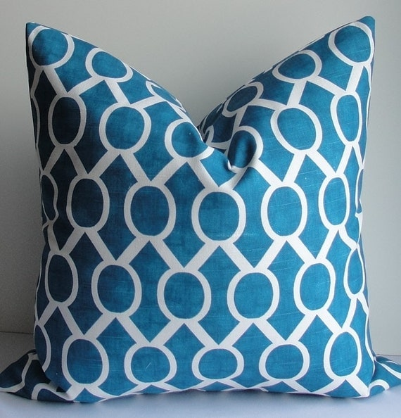 Throw Pillows With Washable Covers : SALE Teal Geometric trellis Decorative Pillow Cover Washable