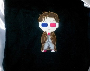Dr Who 10th Dr cutie. 3d glasses inspired red blue embroidered school messenger bag