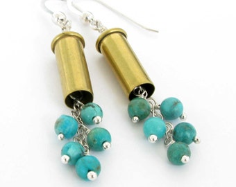 Bullet Earrings with Turquoise and Sterling Silver, Jewelry, Bullet, .22 Caliber Bullet Earrings, .22 Bullet Jewelry, Unique Bullet Earrings