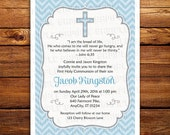 Holy Communion Invitation, Baptism Invite, printable, digital, diy, in any color