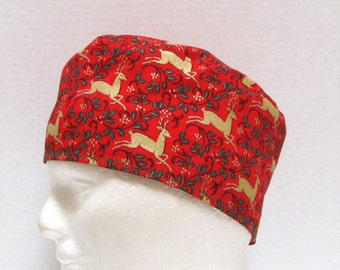 Christmas Red Surgical Cap or Scrub Hat with Gold Reindeer
