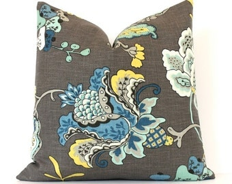 """Modern grey yellow blue Decorative Designer Pillow Cover 18"""" Accent oriental floral chinoiserie gray charcoal midnight black flowers aqua"""