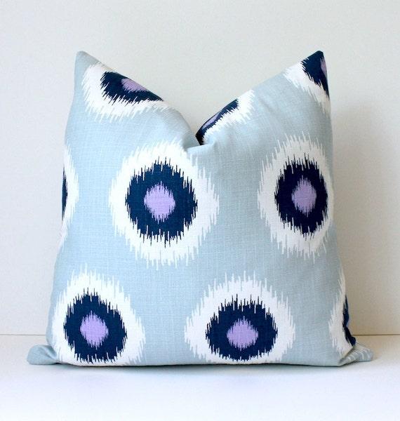 Navy Blue Purple white polka dots Decorative Designer Pillow Cover 18 Accent Cushion ikat lavender spots geometric circles