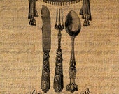 Bon Appetit French Text Fork Knife Spoon Silverware Digital Image Download Transfer To Pillows Tote Tea Towels Burlap No. 1470