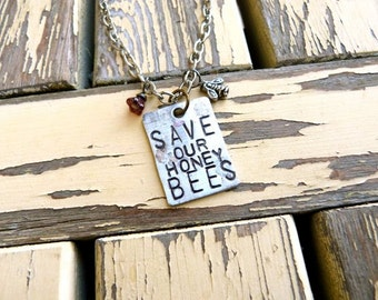 Save Our Honey Bees, Bee, Beekeeper, Necklace