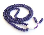 6mm Tibetan 108 Round Purple Violet Stone Beads Buddhist Prayer Beads Japa Mala   ZZ210