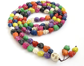 Multiple Color Imitate Turquoise Carved Skull 108 Prayer Beads Buddhist Rosary Mala Necklace  ZZ223