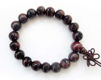 10mm Red Rosewood Prayer Beads Buddhist Wrist Japa Mala Bracelet With Kwan-Yin FO  T1184