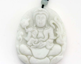 Talisman Blessing Goddess Of Mercy Kwan-Yin Natural Stone Amulet Pendant 45mm x 38mm  TH243