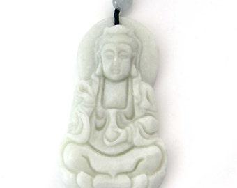 Talisman Female God Goddess Of Mercy Kwan-Yin Guanyin Natural Stone Amulet Pendant 55mm x 32mm  TH267