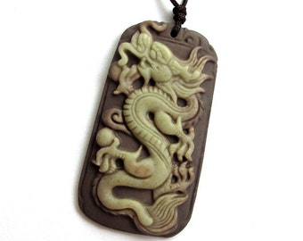 Two Layer Natural Stone Chinese Dragon Amulet Pendant 48mm x 26mm  ZP048