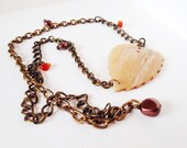 Art Nouveau necklace, statement necklace, vintage pendant necklace, mother of pearl necklace, boho necklace by nicobel