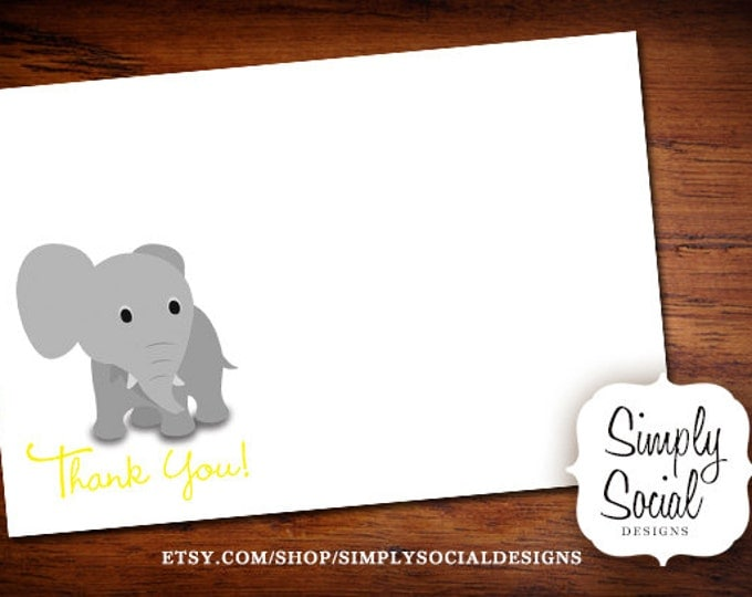 INSTANT DOWNLOAD Elephant Baby Shower Thank You Card Yellow PRINTABLE
