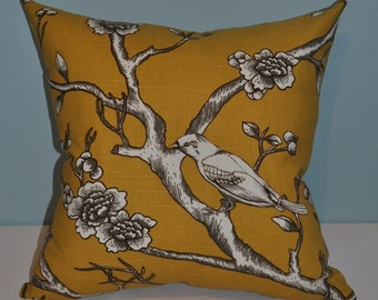 Modern Home Decor Pillow Cover Made in Robert Allen / Dwell Studio Fabric Vintage Blossom Citrine 20x20