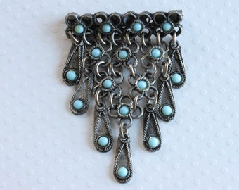 Vintage Turquoise  Dangle Brooch Faux Turquoise Silver Pin Silver Dangle Pin Southwest Jewelry