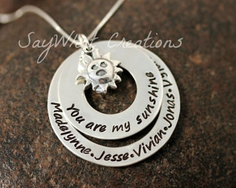 You are my Sunshine Hand Stamped Sterling Silver Necklace with Names