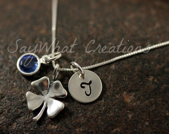 Sterling Silver Mini Initial Hand Stamped Shamrock Four Leaf Clover Necklace