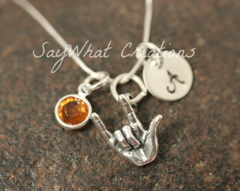 Sterling Silver Mini Initial Hand Stamped Sign Language I Love You Hand Charm Necklace ASL
